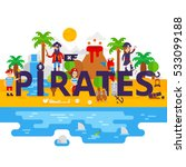 pirates on the island vector... | Shutterstock .eps vector #533099188