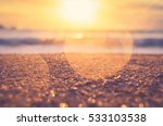 Blur Tropical Sunset Beach Wit...