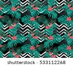 tropical leaves and coral... | Shutterstock .eps vector #533112268