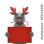 Cute Cat In Reindeer Antlers...