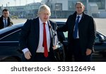 Small photo of Belgrade, Serbia. November 11th 2016 - Boris Johnson, Secretary of State for Foreign and Commonwealth Affairs with his book, The Churchill Factor