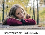 a sad and depressed woman... | Shutterstock . vector #533136370
