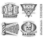 four isolated barbershop design ... | Shutterstock .eps vector #533143828