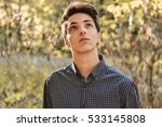pensive faithful teenage boy... | Shutterstock . vector #533145808