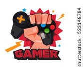 fist hand with gamer joy stick. ... | Shutterstock .eps vector #533148784