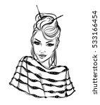 fashion portrait lineart... | Shutterstock .eps vector #533166454