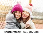 two female besties in knit... | Shutterstock . vector #533187988