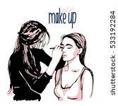 woman visagist makeup artist... | Shutterstock .eps vector #533192284