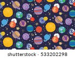 space planets pattern  | Shutterstock .eps vector #533202298