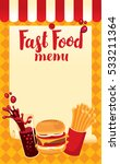 menu price fast food with cola  ... | Shutterstock .eps vector #533211364