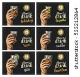 Male hand holding a glasses with drink and antique pocket watch. Vintage vector engraving illustration for web, poster, invitation to party. Time to Drink lettering. Isolated on dark background. | Shutterstock vector #533212864