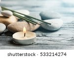 aroma sticks  pebbles and lit... | Shutterstock . vector #533214274