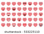 valentines day emoticon icons.... | Shutterstock .eps vector #533225110