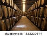 barrels in the wine cellar ... | Shutterstock . vector #533230549