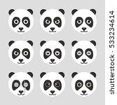 set of cute panda emoticons....   Shutterstock .eps vector #533234614
