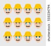 set of cute builder emoticons....   Shutterstock .eps vector #533234794