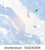 dragonflies in blue summer sky. ... | Shutterstock .eps vector #533242504