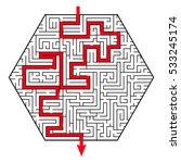 labyrinth as a hexagon. complex ...   Shutterstock .eps vector #533245174