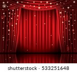 open red curtains with neon... | Shutterstock .eps vector #533251648