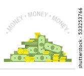 concept of big money. big pile... | Shutterstock .eps vector #533253766