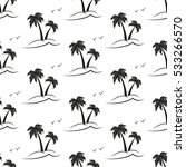 Palm Trees. Black Silhouette O...
