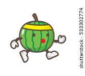 watermelon cute cartoon mascot | Shutterstock .eps vector #533302774