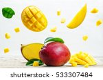 Mango With Flying Slices On A...