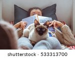 cat looking playfully at the... | Shutterstock . vector #533313700