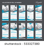 collection blue roll up banner... | Shutterstock .eps vector #533327380