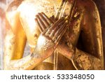 Close Up Hand Of Statue Buddha...