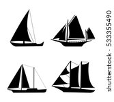 flat yacht icons. boat logo on... | Shutterstock .eps vector #533355490