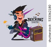 man playing electronic guitar... | Shutterstock .eps vector #533362180
