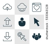 set of 9 world wide web icons....