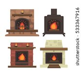 vector set of home fireplaces... | Shutterstock .eps vector #533367916