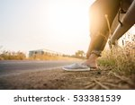 girl remove casual shoes near... | Shutterstock . vector #533381539