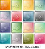 modern glassy icons with floral ... | Shutterstock . vector #53338288