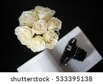 bouquet of white roses on a... | Shutterstock . vector #533395138