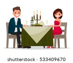 couple having dinner by... | Shutterstock .eps vector #533409670