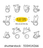 Stock vector play time little cat and dog are playing toy balls children vector illustration cute character 533414266