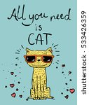 vector card with cute cat and... | Shutterstock .eps vector #533426359