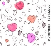 vector seamless pattern. hearts ... | Shutterstock .eps vector #533432320