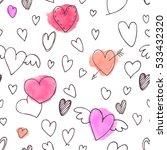 vector seamless pattern. hearts ... | Shutterstock .eps vector #533432320