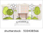 city landscape with bench and...   Shutterstock .eps vector #533438566