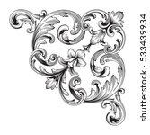 vintage baroque corner ornament ... | Shutterstock .eps vector #533439934
