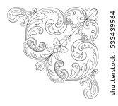 vintage baroque corner ornament ... | Shutterstock .eps vector #533439964