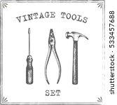 vintage tools set vector | Shutterstock .eps vector #533457688