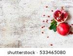Half Pomegranate And Ripe...