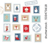 christmas postal stamps set... | Shutterstock .eps vector #533473618
