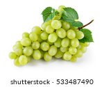 Green grape with leaves...