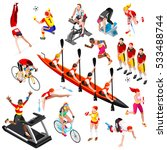 sport icon isometric people set ... | Shutterstock .eps vector #533488744